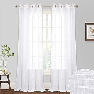 RYB HOME White Curtains Sheer - Linen Curtains Grommet Drapes for Bedroom Large Windows Decor, Natural Light Flirt Panels for Patio Sliding Door Balcony Living Room, W 52 x L 95, 1 Pair