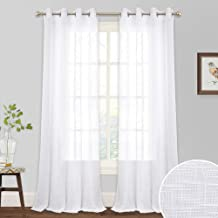 RYB HOME White Curtains Sheer - Linen Curtains Grommet Drapes for Bedroom Large Windows Decor, Natural Light Flirt Panels for Patio Sliding Door Balcony Living Room, W 52 x L 95, 1 Pair