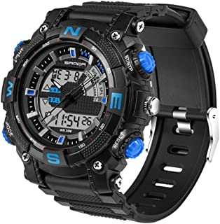 5320 LED Luminous Display & Stopwatch & Alarm & Date and Week Function Men Quartz + Digital Dual Movement Watch with Plast...
