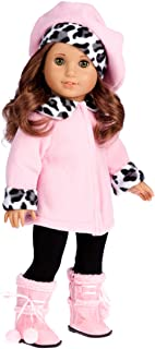 DreamWorld Collections - Elegance - 4 Piece Outfit Fits 18 Inch American Girl Doll - Pink Fleece Coat, Matching Hat, Brown Pants and Sherpa Boots - 18 Inch Doll Clothes (Doll Not Included)