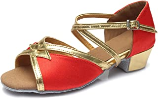 SWDZM Chaussures de Danse fille Standard Latin Jazz/Chacha/Ballet Chaussures Satin Model-FR-D206
