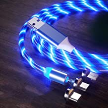 Magnetic Phone Charger Cable LED Flowing, SUKER 3 in 1 Light Up Shining Magnetic Charging Cable Compatible with Mirco USB, Type C Smartphoneand iProduct Device (Blue)