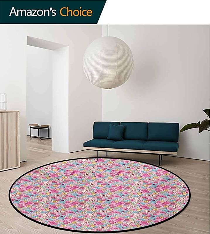 RUGSMAT Baby Round Area Rug Kawaii Bunnies Ice Cream And Candies Doodle Style Cartoon Drawing Abstract Design Non Slip Fabric Round Rugs For Living Room Diameter 71 Inch Pink Turquoise Mustard