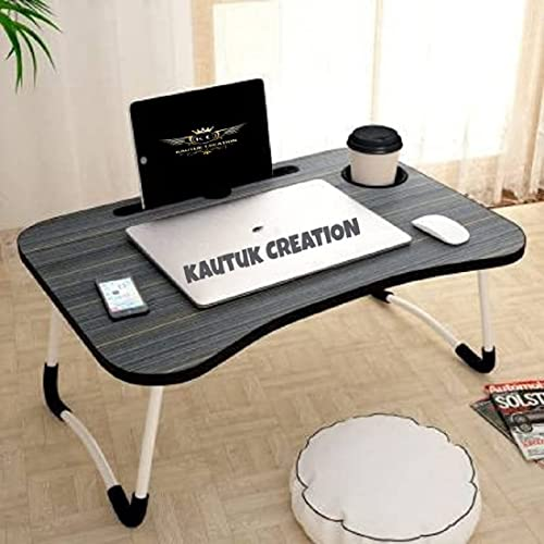 kautuk creation Foldable Bed Study Table Portable Multifunction Laptop Table Lapdesk for Children Bed Foldabe Table Work Office Home with Tablet Slot Cup Holder Bed Study Table