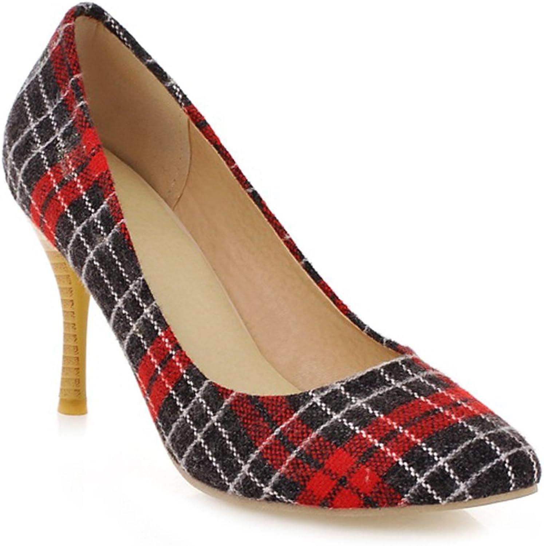 AIWEIYi Womens Vintage Print High Heel Pumps Dress shoes Black