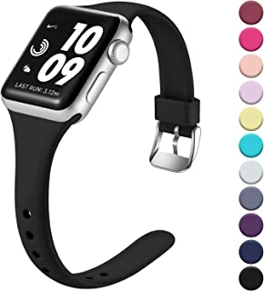 Laffav Slim Band Compatible with Apple Watch 40mm 38mm 44mm 42mm for Women Men, Soft Silicone Narrow Thin Sport Replacement Strap for iWatch Series 5 4 3 2 1