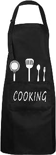Kookschort Unisex keuken koks schort waterdicht slabbetje schort met 2 zakken en verstelbare nekriem oliebestendig chef-sc...