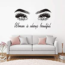 Attractive Girl Eye Lashes Vinyl Wall Sticker Mural Make Up Decal Woman Beauty Quote Art Decals Bedroom Decor Eyebrows Roo...