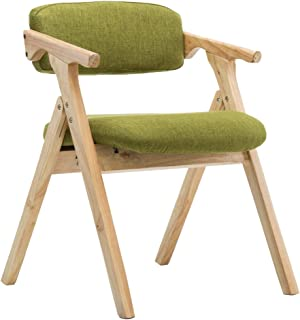 yizi Stylish Solid Wood Folding Chair with Cushioned Dining Chair backrest and armrest Fabric Dining Chair Desk Chair Lounge Chair Retro Design (Color : Green)