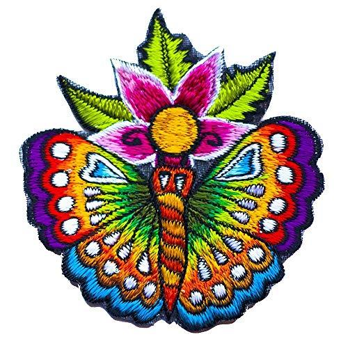 ImZauberwald Blumen Schmetterling Aufnäher (8cm Durchmesser, UV aktiv) flower butterfly patch