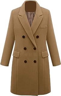 معطف نسائي جذاب من SportsXX بياقة مطوية من الصوف المخلوط متوسط الطول ملفوف