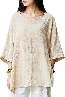Aeneontrue Women's Linen Cotton Short Sleeve Summer Crop Tees Tops T-Shirt Blouses