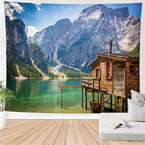 haoziggdeshoop Wandteppich Wandbehänge Chalet Am See Tapisserie Wandtuch Hausdeko Strandtuch Tagesdecke Boho Deko 180(H) X230(B) cm