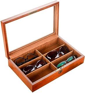 FGDSA Organizador de anteojos de Madera para Gafas de Sol Caja organizadora de Almacenamiento de exhibición de Gafas de 6 ...