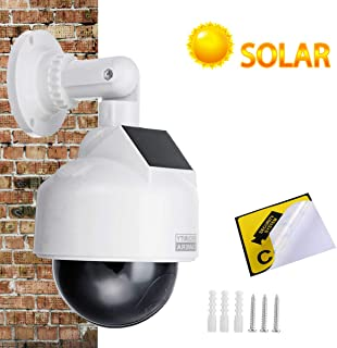 YSUCAU Solar Powered Dummy Fake CCTV Security Dome Camera with Flashing Red LED Light & Warning Security Alert Sticker Dec...