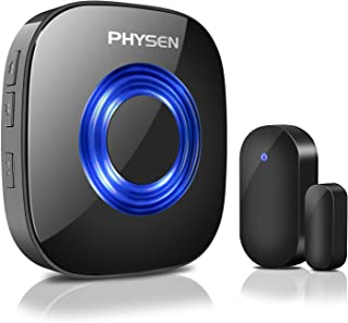 Door Chime PHYSEN Wireless Door Open Chime Kit Operating at 600-feet Range,4 Volume Levels Doorbell Sensor Chime with 52 Melodies LED Indicator for Home/Office/Stores
