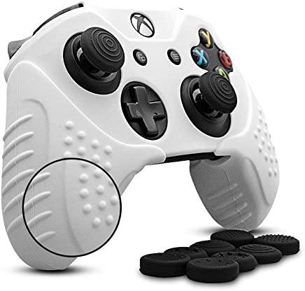 CHINFAI Xbox One Controller Silicone Skin Case Anti-slip Protective Grip Cover for Xbox 1 with Thumbstick Caps Set (White)