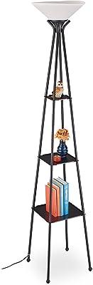 Relaxdays Lampe sur pied étagère, HxLxP : 185 x 35 x 35 cm, lampadaire, lampe de plancher, 3 étages, métal, noir/blanc