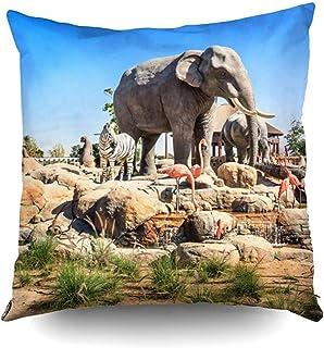 2PC 18X18,Fundas De Almohada Fundas De Almohada De Diciembre Escultura Central Animales Salvajes En Safari Park Safari Park De Dónde Todos Pascua Imprimir Zip Fundas De Almohada Cojín