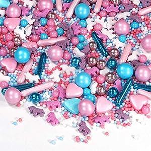 Polvos de azúcar multicolor con diseño de unicornio, color rosa, azul claro, 180 g, ideales como decoración de tartas y galletas, decoración para cumpleaños infantiles, tartas, cupcakes, magdalenas