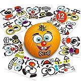 ArtCreativity Halloween Pumpkin Decorating Stickers - 12 Sheets - Jack-o-Lantern Decoration Kit - 26 Total Face Stickers - Cute Halloween Decor Idea - Treats, Gifts, and Crafts for Kids