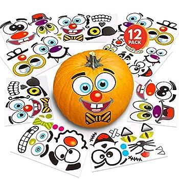 ArtCreativity Halloween Pumpkin Decorating Stickers - 12 Sheets - Jack-o-Lantern Decoration Kit - 26 Total Face Stickers - Cute Halloween Decor Idea - Treats Gifts and Crafts for Kids