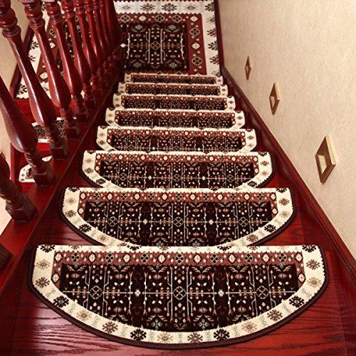 ANHPI Européen Maison Tapis D'escalier d'impression De Glissement Semi-Circulaire L'auto-Absorption Rétro Tapis De Sécuritéépaisseur: 8-10mm Un Ensemble 1,Brown-24×80cm