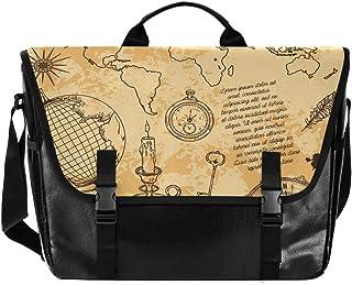 Mapa de navegación elementos hombres y mujeres lona, bolso de hombro estilo retro para la escuela, ideal para iPad, Kindle...