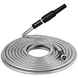 Beaulife Strong 304 Stainless Steel Metal Garden Hose with Nozzle 100ft Flexible...