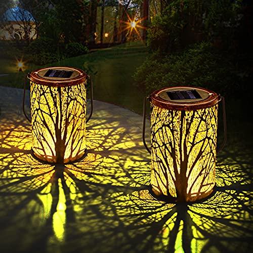 Solarlaterne für Außen, Qxmcov LED Solar Laterne Hängend für Draußen, Dekorative Solarlampe Garten Laterne Wasserdicht für Garten, Terrasse, Hof