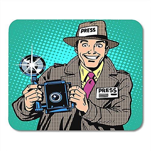 Mann Comic Fotograf Paparazzi bei der Arbeit Presse Medienkamera Der Reporter lächelt Pop Retro Style Buch Attraktiv Dekorativ Rutschfest Gaming Mousepads 30cmx25cm