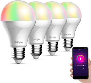 Smart LED Bulb A19 WiFi Dimmable Multicolor Light Bulb Compatible with Alexa and Google Home Assistant (No Hub Required), 7W 350LM RGB Color Changing Bulb(4 Pack, E27)