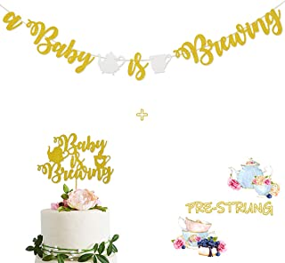 A Baby Is Brewing Gold Glitter Banner Sign Garland With Teapot Teacups Pre-strung for Tea Themed Baby Shower
