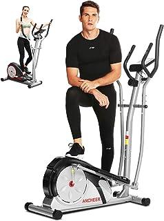 ANCHEER Macchina Ellittica Fitness Machine Cyclette Ellittica con 8 Livelli di Resistenza/Display LCD/Porta Tablet/Manigli...