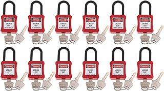 Perfk 12 Pack Strong Firm Safety Lockout Padlock Lock Keyed, Key Retaining, Safe