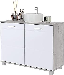 Meuble sous-lavabo Meuble de Vasque Armoire de Salle de Bain avec 2 étagères et 2 Portes en Bois pour Salle de Bain Toilet...