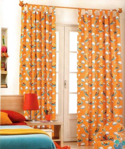 Original disney winnie l'ourson pooh & tiger 1 st.xXL prêt à rideau/voilage l 290 cm x 140 cm coton orange neuf