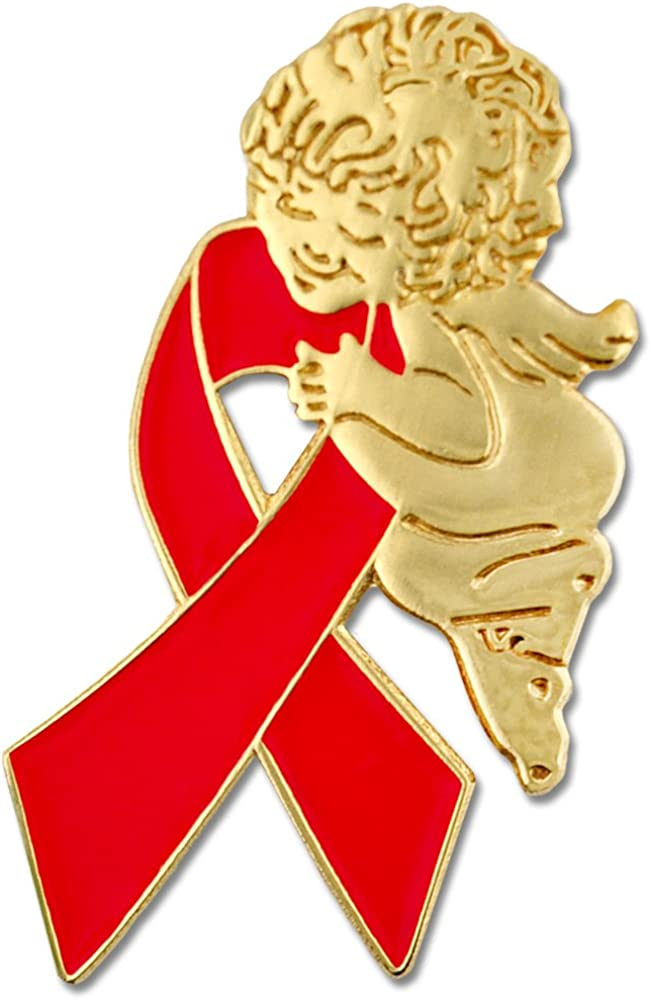 High quality PinMart Red Awareness Ribbon Religious Enamel Angel Spiritual La Quantity limited