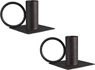 ZHANGLI Candle Holder - 2pcs Aromatherapy Container Wrought Iron Black Candle Holder - Home Decor Wrought Iron Taper Candl...