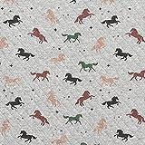 Steppstoff Baumwolljersey Pferde – grau — Meterware ab