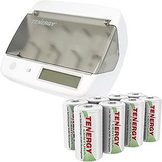 Combo: Tenergy TN299 Hybrid NiMH, NiCd, Li-ion, LiFePO4 Universal Charger + 8 pcs Tenergy Low Self Discharge Centura D Batteries