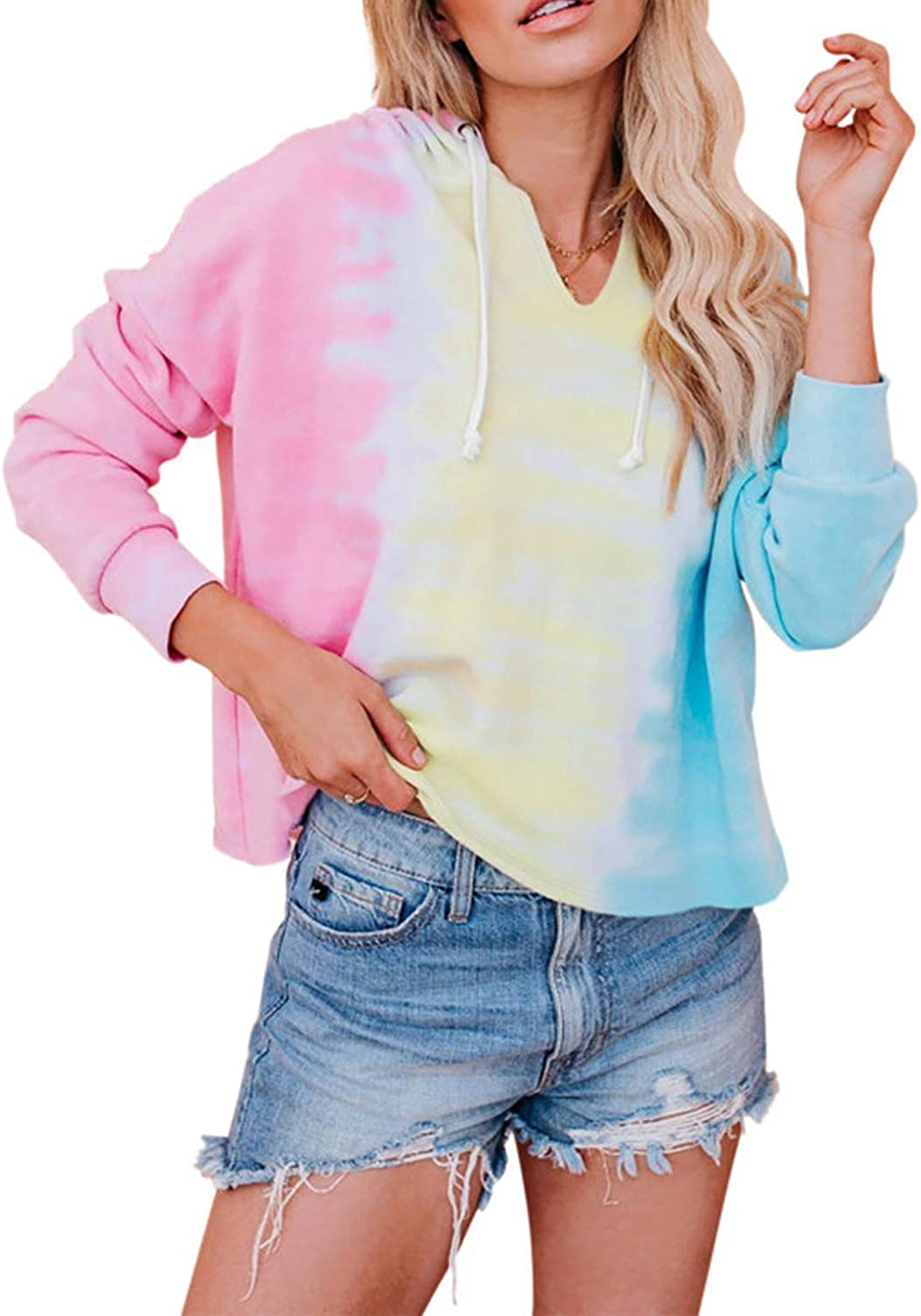 Magritta Womens Hoodies Shirts Casual Long Sleeve Sweatshirts Solid Tie Dye Floral Tops Pullover