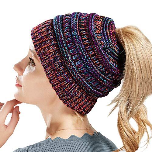 SWEDREAM Sombrero Invierno Gorros de Punto Gorras para Mujeres Crochet Cálido Suave Sombreros de Esqui (Púrpura)