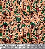 Soimoi Orange Viskose Chiffon Stoff Trauben Weinflasche und
