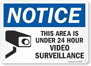 "SmartSign ""Notice - This Area Is Under 24 Hour Video Surveillance"" Sign | 10"" x 14"" Aluminum"
