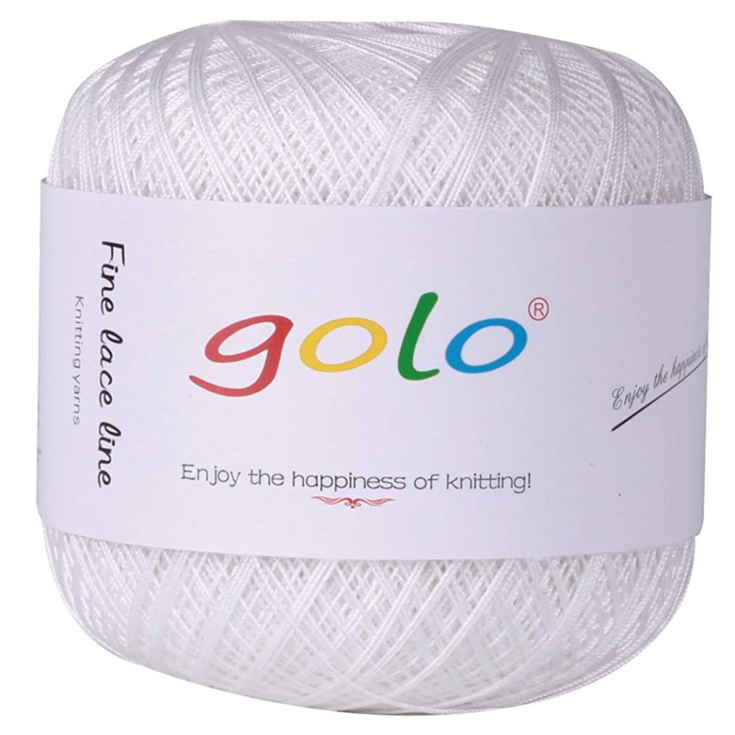Crochet Thread Yarns for Begingers Size10-100% Contton Yarn for Knitting Crochet DIY Hardanger Cross Sitch Crochet Thread Balls Rainbow Turquoise 39 Colors Avilable (Pure White)