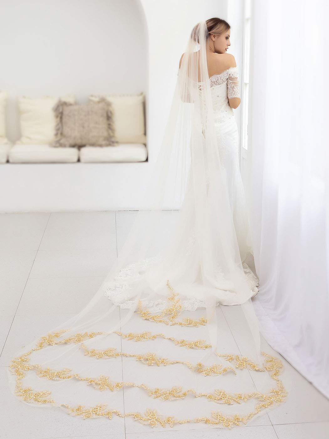 Aukmla Cathedral Veil Wedding Bridal Veils Beautiful Long Veil with Lace and Metal Comb at the Edge (Champagne)