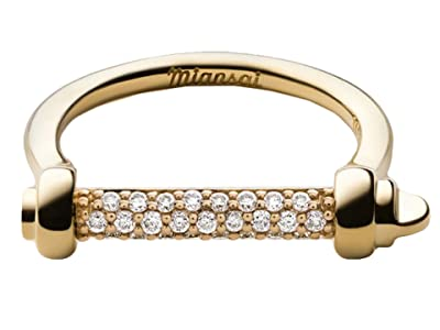 Miansai Thin Screw Cuff Ring (Polished Gold/White Sapphire) Ring