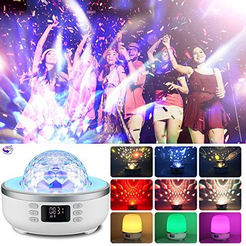 Sternprojektor Nachtlicht Bluetooth Lautsprecher Nachttischlampe mit Wecker FM Radio 360° Rotation Projektor 6 Filme, Dimmbares Warmes Licht & 7 Farbwechsel Geschenk für Mädchen Junge Frauen Männer