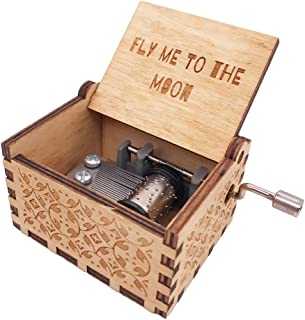 YouTang Music Box 18 Note Hand Crank Engraved Wood Music Box,Play Fly Me to The Moon,Brown